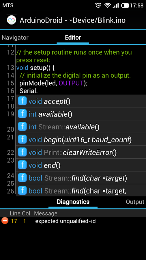 ArduinoDroid - Arduino IDE - screenshot