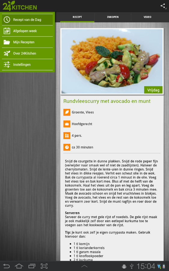 Recept van de dag, 24Kitchen - screenshot