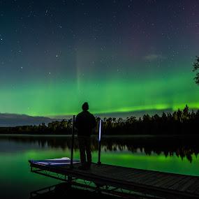 BWCAW Aurora by David Johnson - Landscapes Weather ( bwcaw, big dipper, aurora borealis, lake, landscape )