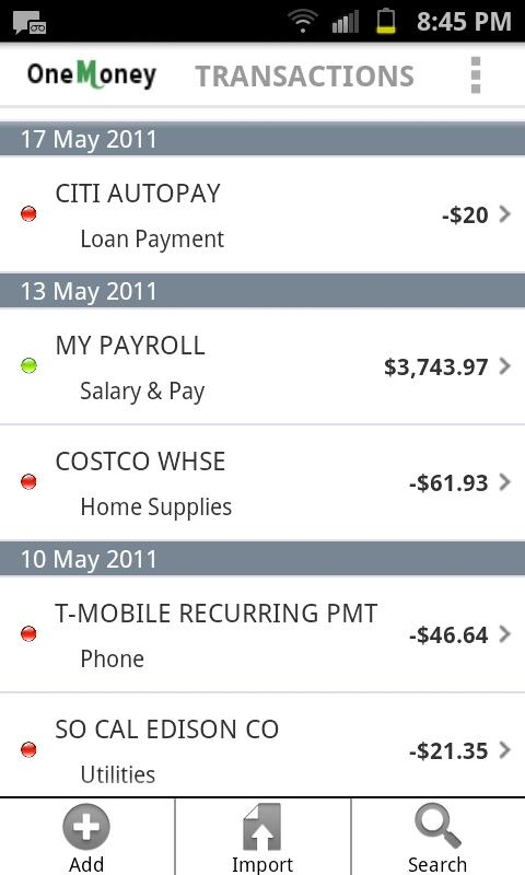 One Money Personal Finance- screenshot