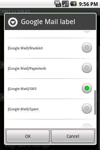 SMS to GMAIL - screenshot
