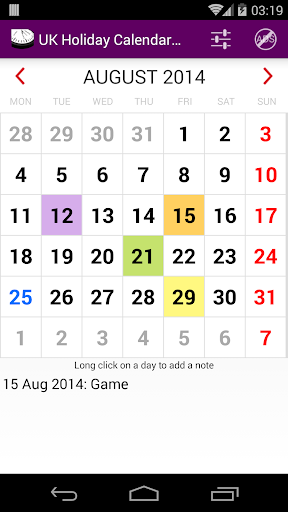 2015 UK Labor Calendar AdFree
