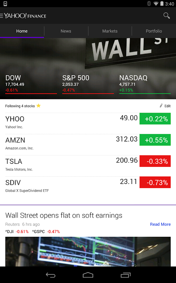 Yahoo Finance- screenshot
