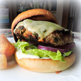 Turkey Burgers with Cheddar and Spinach