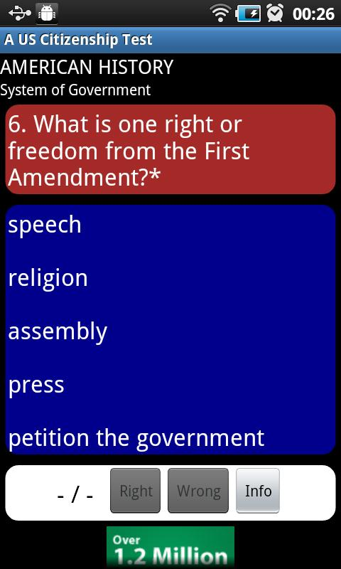 A US Citizenship (Civics) Test - screenshot
