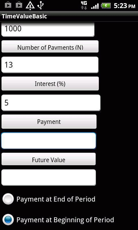Time Value of Money Calculator - screenshot