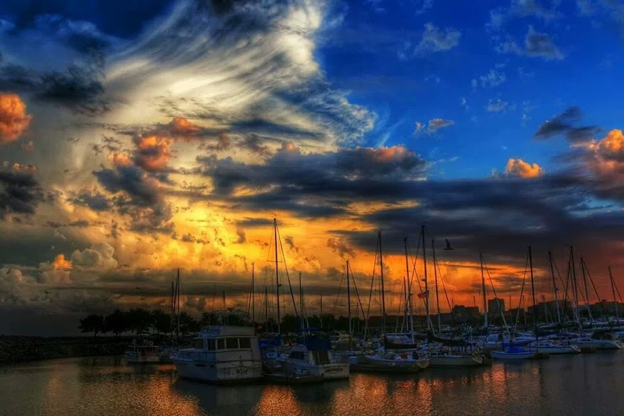 by David Konieczko - Transportation Boats ( clouds, boating, sky, lake michigan, sunsets )