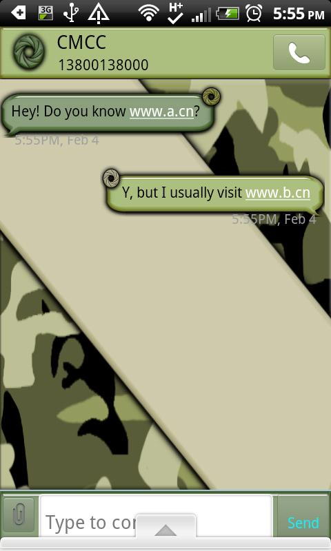 GO SMS THEME/CamouflageCamo - screenshot