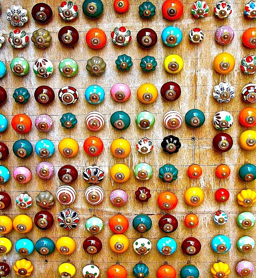 DRAWER HANDLES by Doug Hilson - Artistic Objects Business Objects ( grid pattern, colorful, india,  )