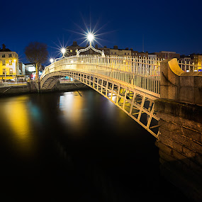 Dublin by Peter Krocka - City,  Street & Park  Night ( ireland, colors, dublin, night, bride, river )