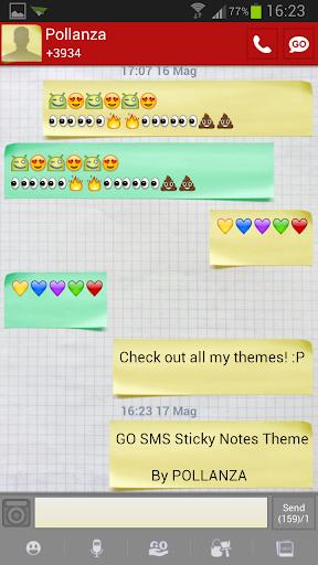 GO SMS Sticky Notes Theme
