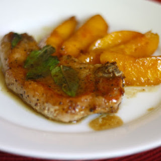 Pork Chops with Peaches, Bourbon, and Basil