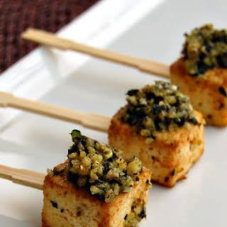 Roasted Tofu Lollipops With Pesto.