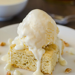 White Chocolate Blondies with Maple Cream Sauce