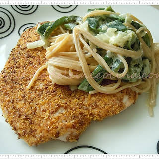 Chicken Milanese with Pasta and Poblano Chilies.