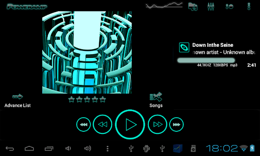 Poweramp skin TRON-TÜRKIS Screenshot