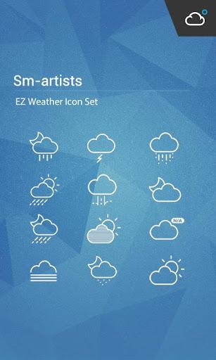 極簡純白線條﹣精緻優美設計風格天氣圖標包