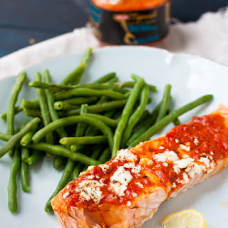 Salmon With Roasted Red Pepper Tapenade & Goat Cheese.