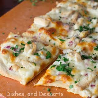 Roasted Garlic, Chicken & Herb White Pizza.