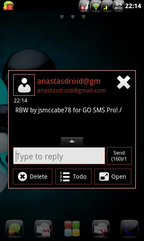 RBW GO SMS Pro Theme (free) - screenshot