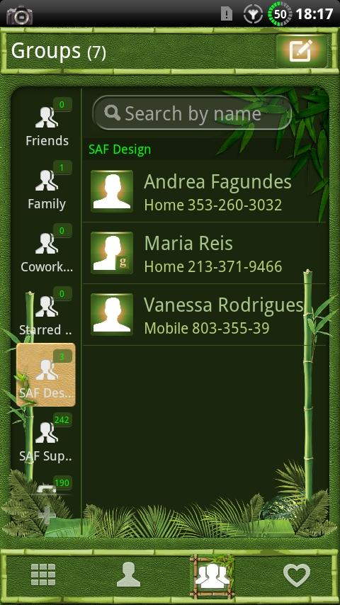 GOContacts theme BAMBOO- screenshot