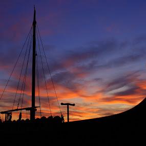 Long ship at Sunrise by Mark Milham - Transportation Boats ( viking, long boat, ship, long ship, boat, viking ship )