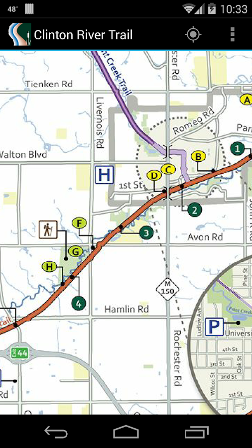 Clinton River Trail Map- screenshot