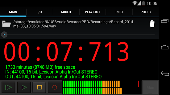 USB Audio Recorder PRO Screenshot