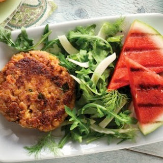 Chickpea Fritters with Arugula Salad and Grilled Watermelon.
