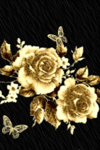 Gold Flowers With Butterfly Li Android App Screenshot