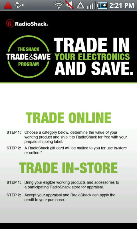 RadioShack Trade & Save - screenshot