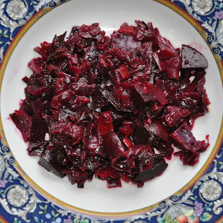 Bright Winter Side (Sauteed Beet Greens, Red Chard and Red Cabbage with Roasted Beets).