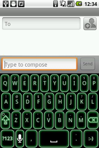 Green Glow Code Keyboard Skin - screenshot