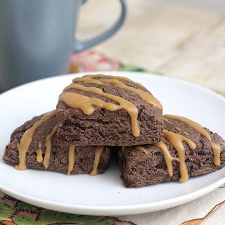 Triple Chocolate Scones with Peanut Butter Glaze.