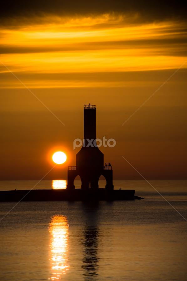 A New Day by James Meyer - Landscapes Sunsets & Sunrises ( sunstet, dawn, lighthouse, sunrise over lake, sunrise, drama, daybreak, lake sunrise, hope )