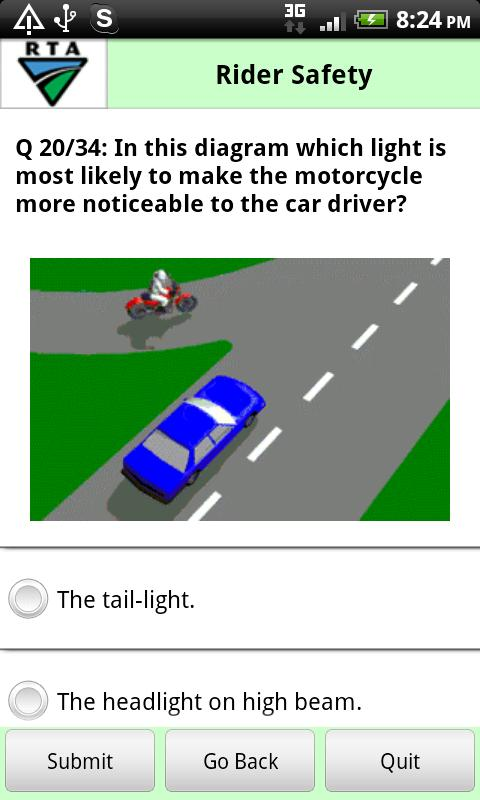 RTA Bike Driver Knowledge Test - screenshot