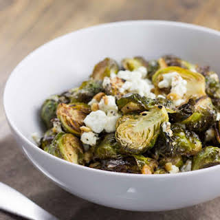 Roasted Brussels Sprouts with Lemon, Thyme, and Goat Cheese.