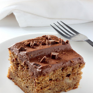 Healthy Whole Wheat Banana Cake with Creamy Greek Yogurt Chocolate Frosting.