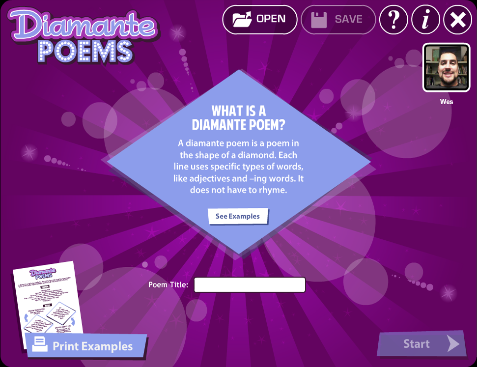 Diamante Poems - screenshot