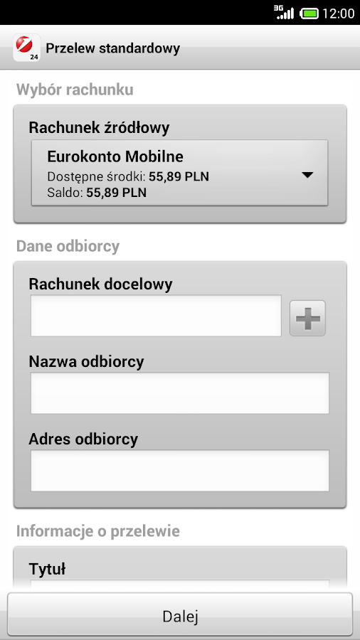 Bank Pekao- screenshot