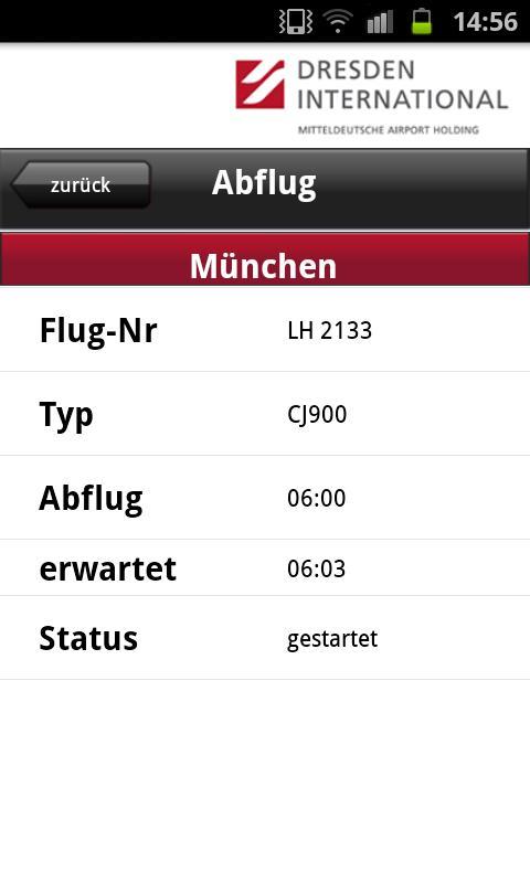 Flugtafel Flughafen Dresden- screenshot