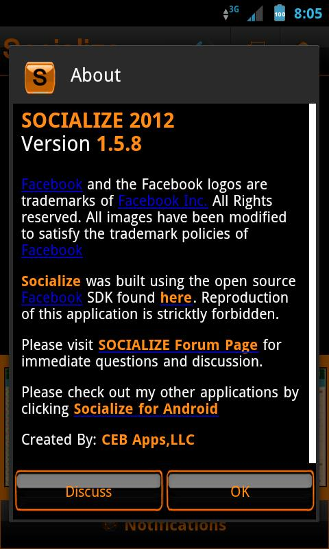 Orange Socialize for Facebook - screenshot
