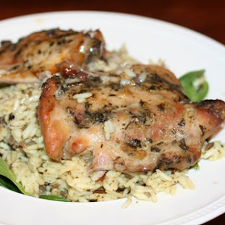Slow Cooker Herb Chicken with Rice and Spinach.