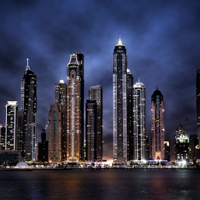 Marina Night Skyline by Paul Jacob Bashour - Buildings & Architecture Office Buildings & Hotels ( water, skyline, dubai, night, marina, united arab emirates, Urban, City, Lifestyle )