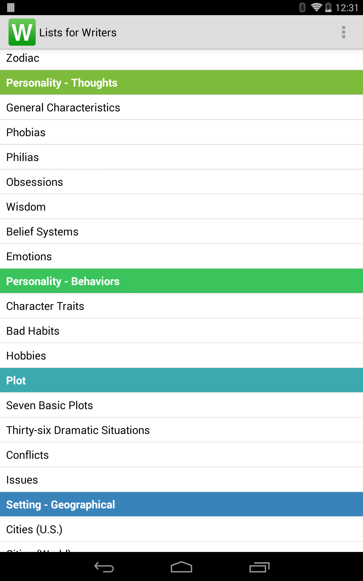 Lists for Writers screenshot #11