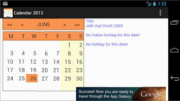 Screenshot of Holiday Calendar 2013