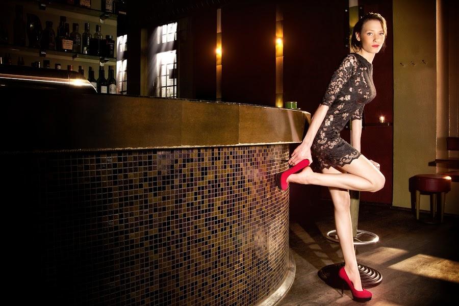 Jazz Café-Mella_026 by Nicolas Carbenay - People Portraits of Women ( girl, hot pants, foot, woman, coffee, bistro, feet, café, melanie, legs, bar, dessous )