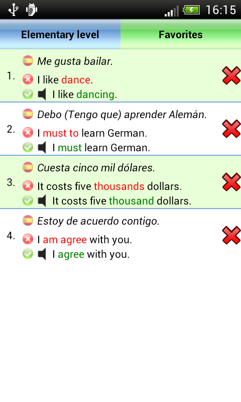 Common mistakes in english.- screenshot