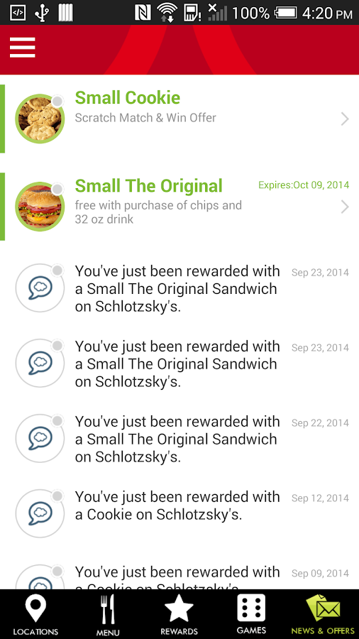 Schlotzsky's Lotz4Me Rewards- screenshot
