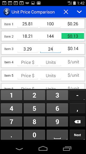 Unit Price Comparison